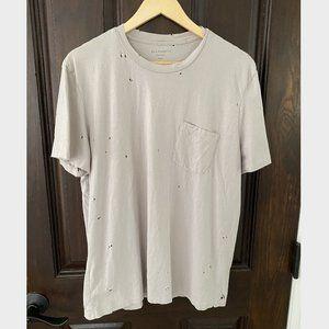 AllSaints Distressed Grey Oversized T-Shirt Medium